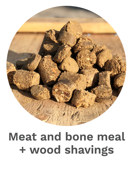 Meat and bone meal + wood shavings