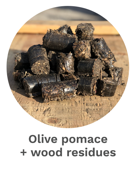 Olive pomace + wood residues